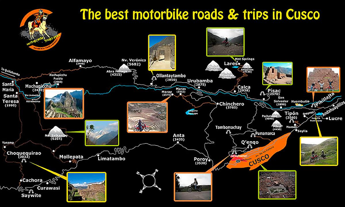 Motorcycle Route Map, Cusco Peru
